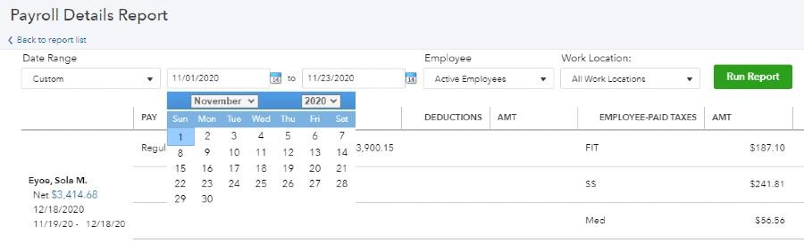 Screenshot of Payroll Details Report Date Range on QuickBooks
