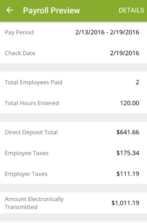 Screenshot of Payroll Preview on SurePayroll App