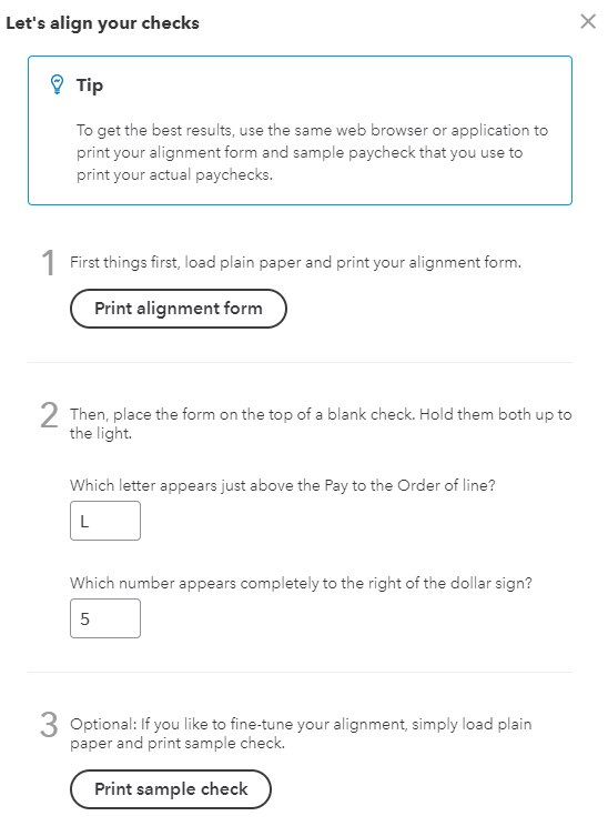Screenshot of Print Alignment Form