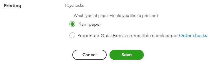 Screenshot of Printing Plain Paper Option