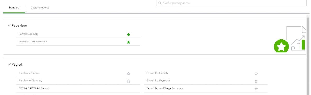 Screenshot of QuickBooks Favorites and Payroll