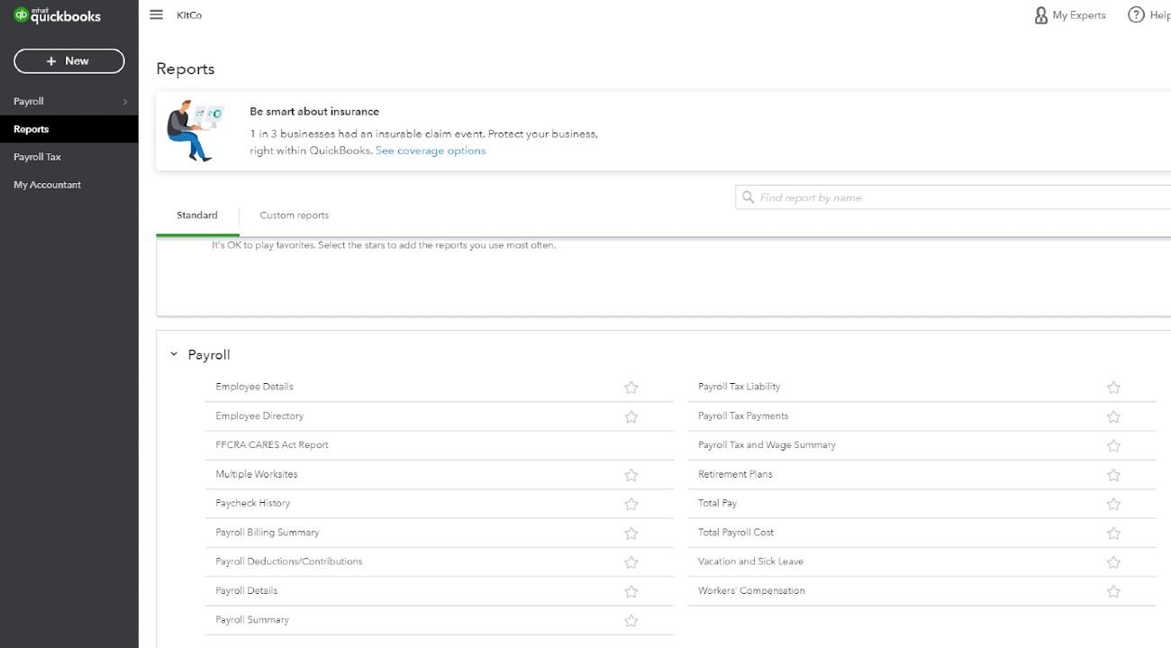 Screenshot of QuickBooks Payroll Reports
