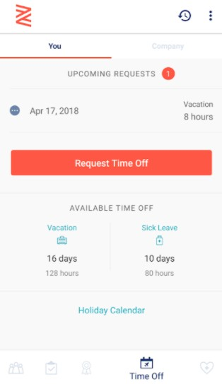 Screenshot of Request Time Off on Zenefits App