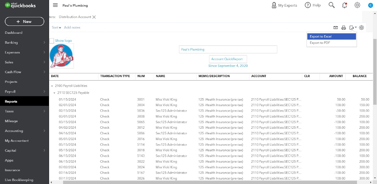 Screenshot of Reviewing Each Payroll Liability Transaction on QuickBooks