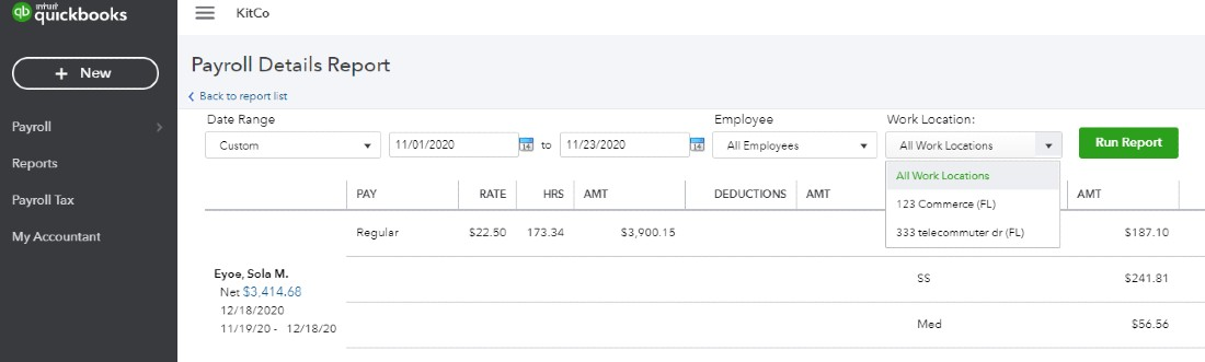 Screenshot of Selecting Work Location on QuickBooks Payroll Details Report