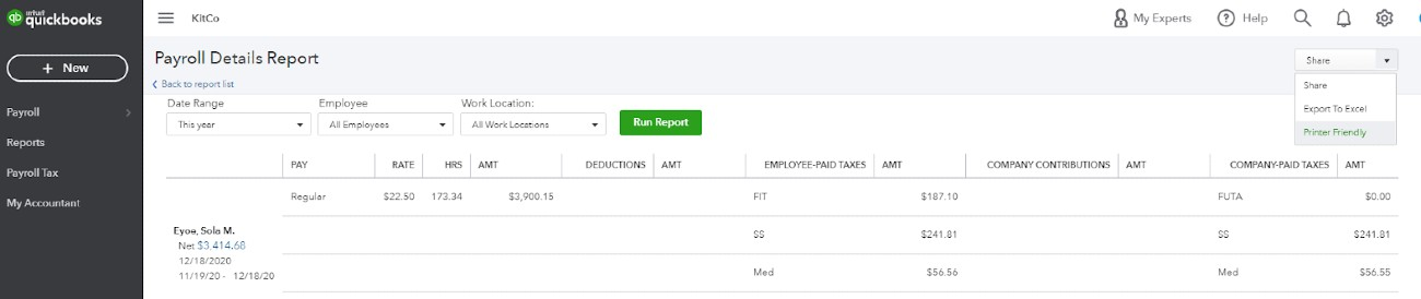 Screenshot of Sharing and Selecting Printer on QuickBooks