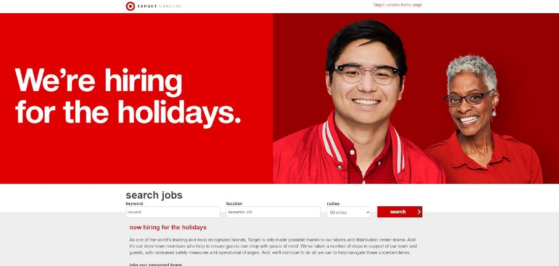 Screenshot of Target Hiring During Holidays