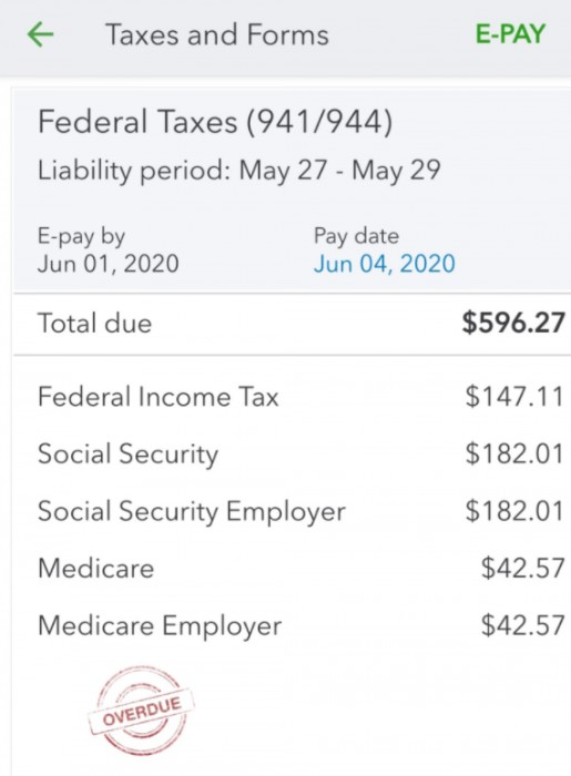 Screenshot of Taxes and Forms on QuickBooks Payroll App