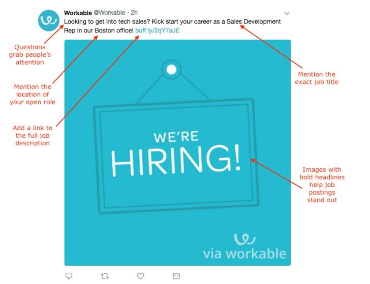 Screenshot of Workable Hiring New Employees Tweet