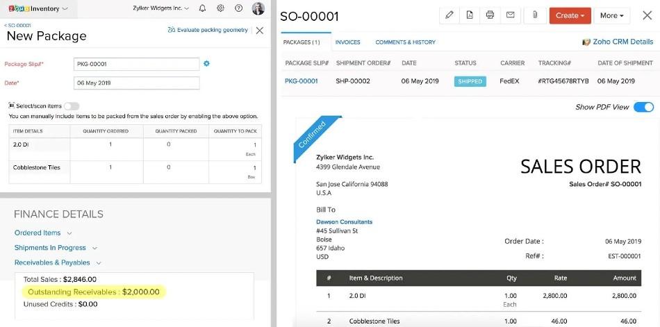 Screenshot of Zoho CRM Invoice Dashboard