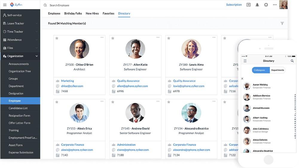 Screenshot of Zoho People Providing a Mobile App
