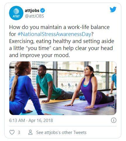 Screenshot of attjobs NationalStressAwarenessDay Tweet