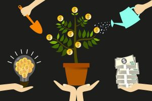 Hands watering and cleaning money coin tree