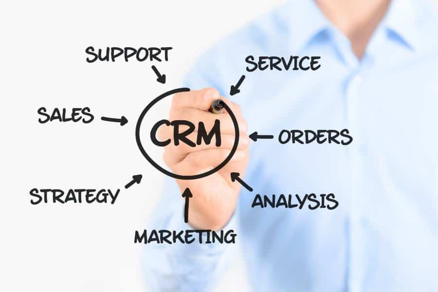 Young businessman drawing customer relationship management process concept