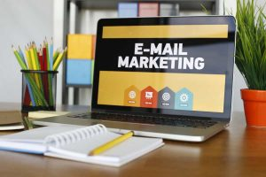 e-mail marketing home page on laptop