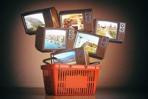 Televisions in a shopping cart