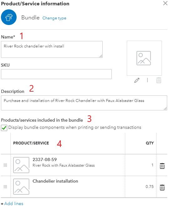 Bundle Item Information in QuickBooks Online