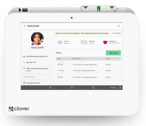 Screenshot of Clover Customer Management CRM Tool