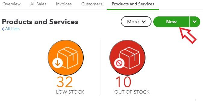 Create New Product or Service in QuickBooks Online