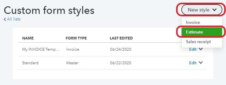 New Customized Estimate Form
