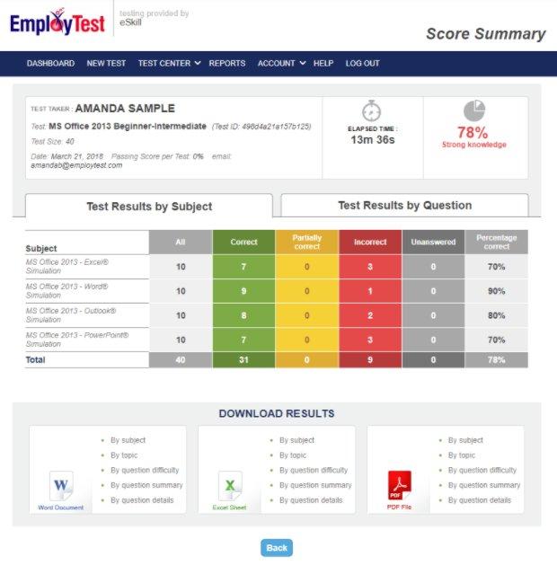Screenshot of EmployTest's scorecard