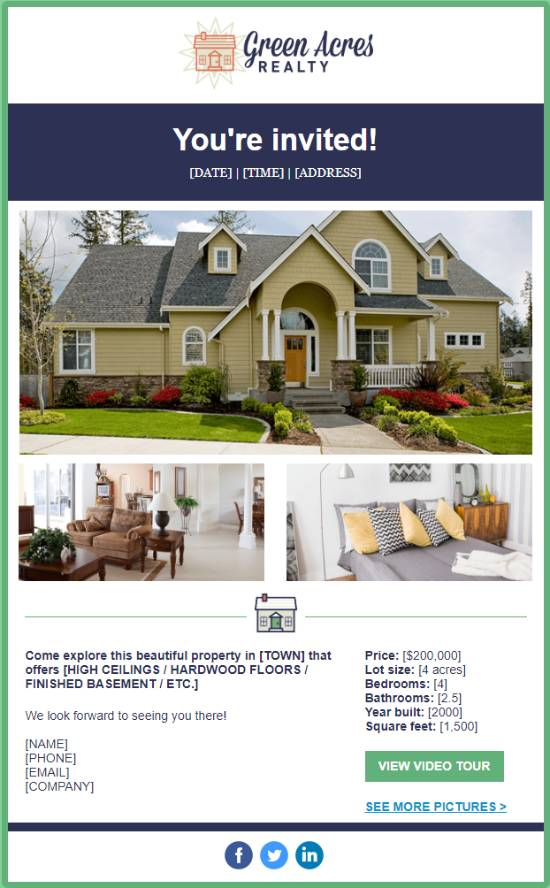 Green Acres - Realty Open House Template