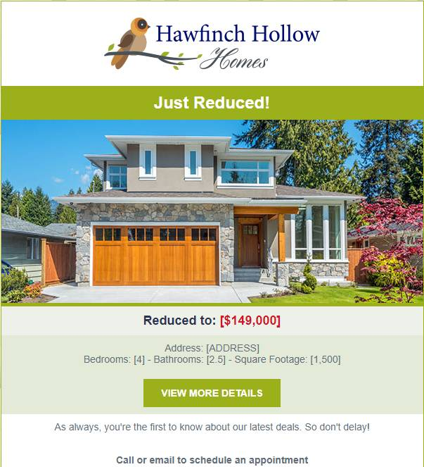 Hawfinch Hollow Homes - Reduced Price Listing Template