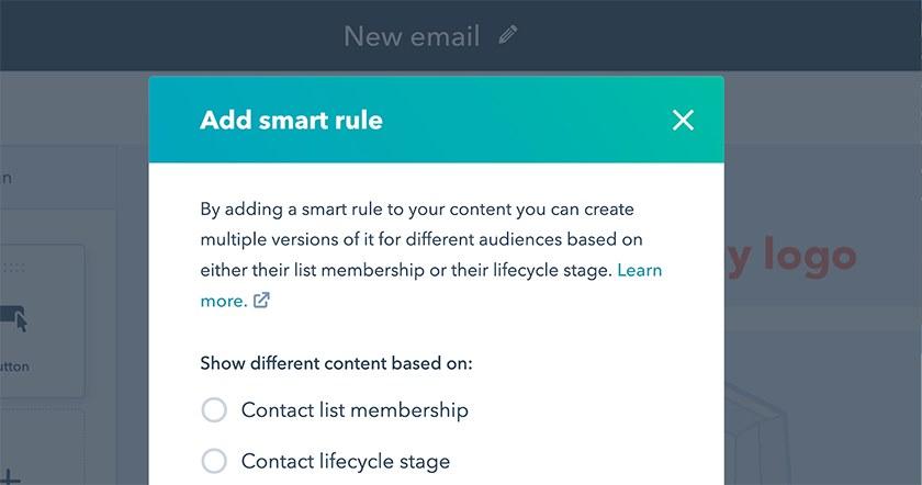 Screenshot of HubSpot CRM add smart rule