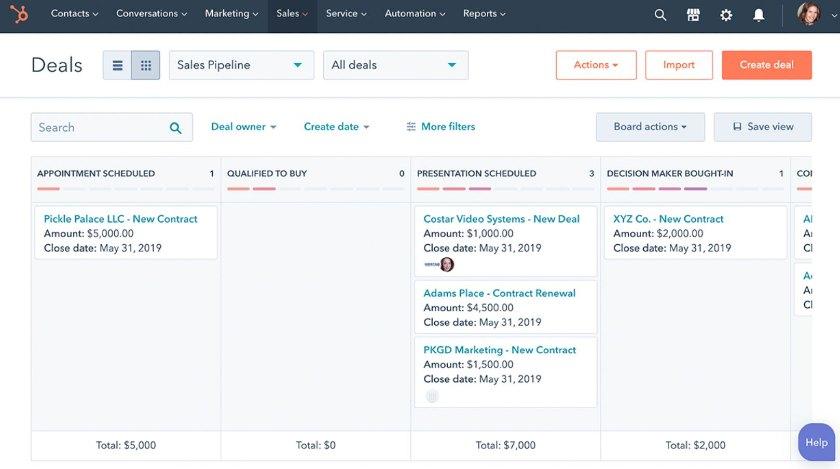 HubSpot CRM deal management dashboard