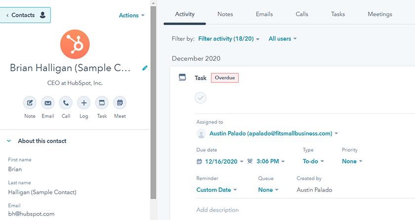 Screenshot Hubspot CRM contacts tab