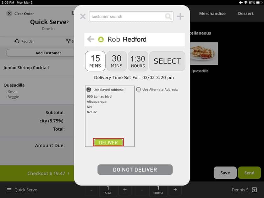 Screenshot of Lavu customer delivery information