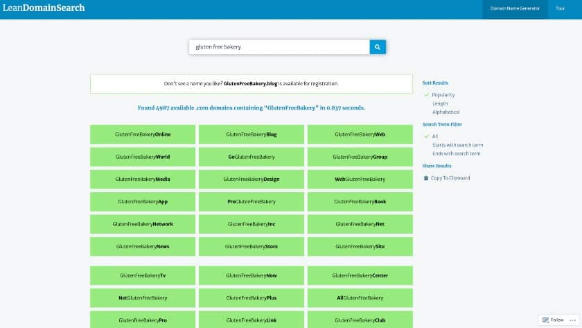 LeanDomainSearch domain name generator