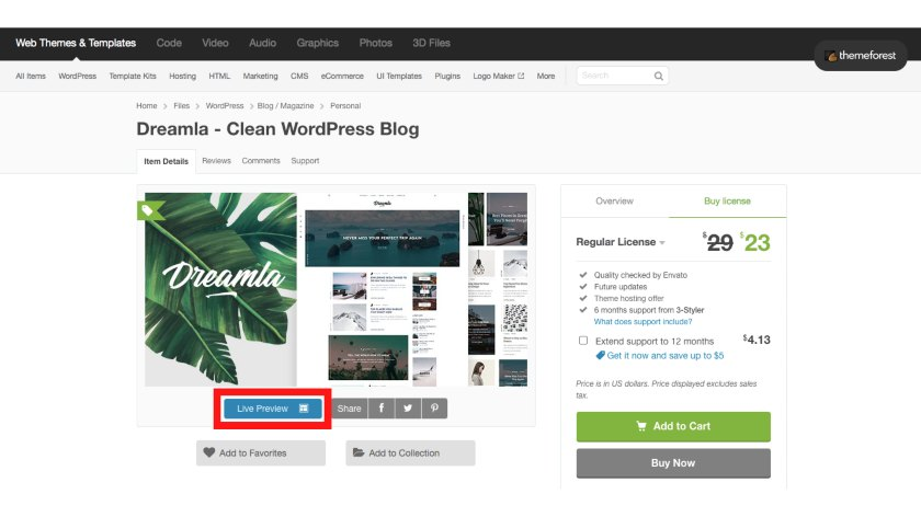 Live Preview option on buying WordPress Theme