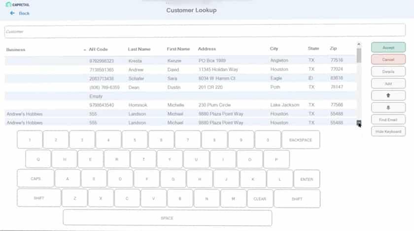 Screenshot of POS Nation customer management program