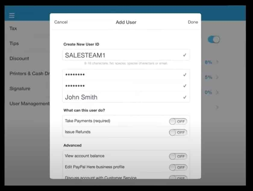 PayPal add users to the POS