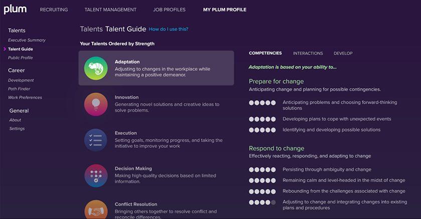 Screenshot of Plum assessment dashboard