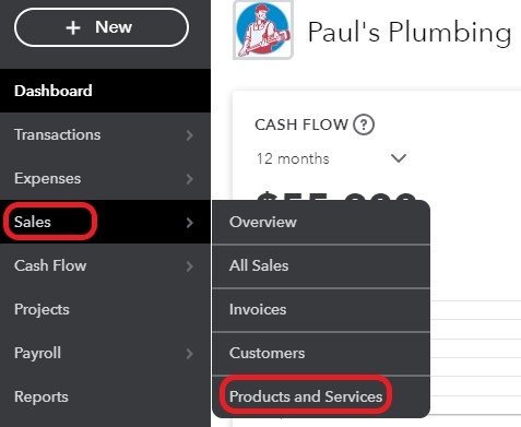 Products and Services in QuickBooks Online