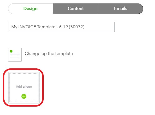 Screenshot of Add a logo to invoice in QuickBooks Online