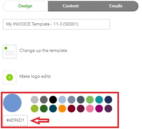 QuickBooks Online Choose a Color for Invoice