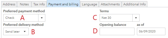 Screenshot of QuickBooks Online Customer Payment and Billing Information