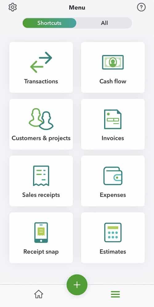 Screenshot of Mobile App Menu