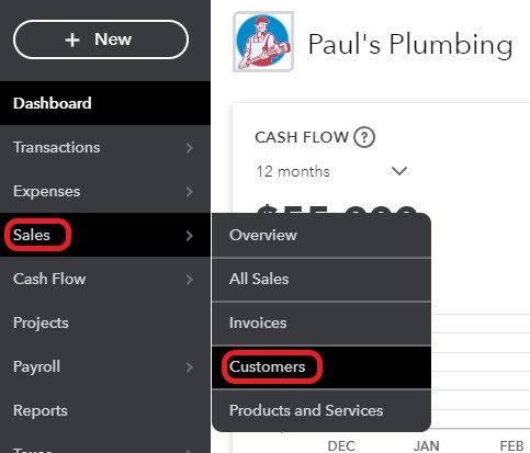 QuickBooks Online Navigate to the Customer Center