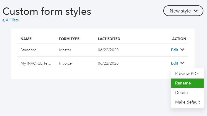 QuickBooks Online Rename Custom Invoice Template