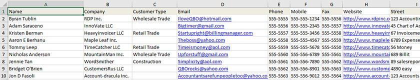Screenshot of Sample Customer Information Worksheet