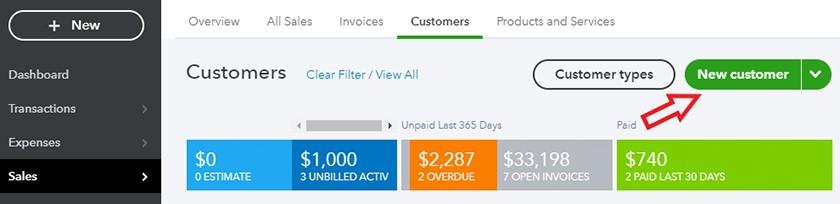 Screenshot of Quickbooks Online Select New Customer