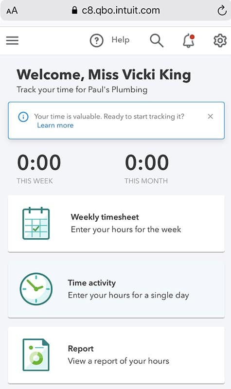 Screenshot of Quickbooks Online Time Entry via Mobile Web