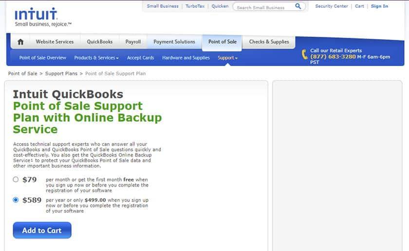 Screenshot QuickBooks point of sale support plan