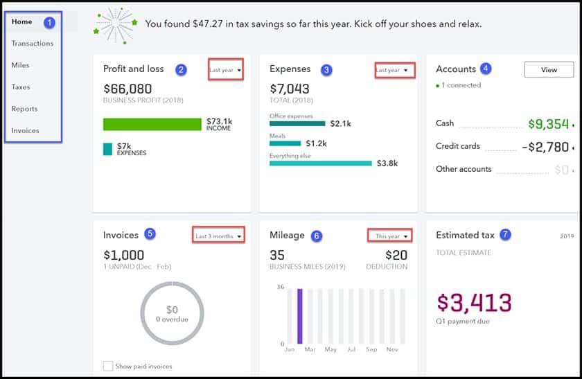 Screenshot of QuickBooks Self-Employed's Dashboard