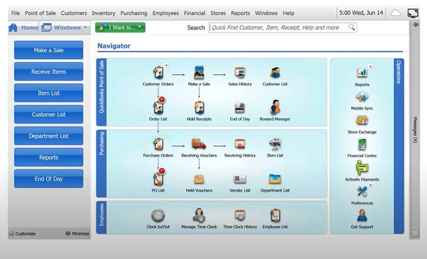 Screenshot of QuickBooks administrative section