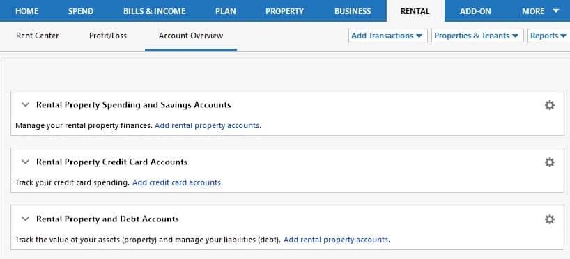 Screenshot of Quicken Rental Tab